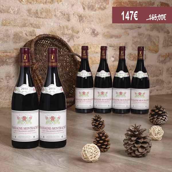 Lot de 6 -Chassagne-Montrachet Voillenots-Dessus rouge 2018, Domaine Gilles Bouton et Fils