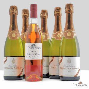 Crémant de Bourgogne Brut blanc - André Delorme + Crème de Pêche de Vigne