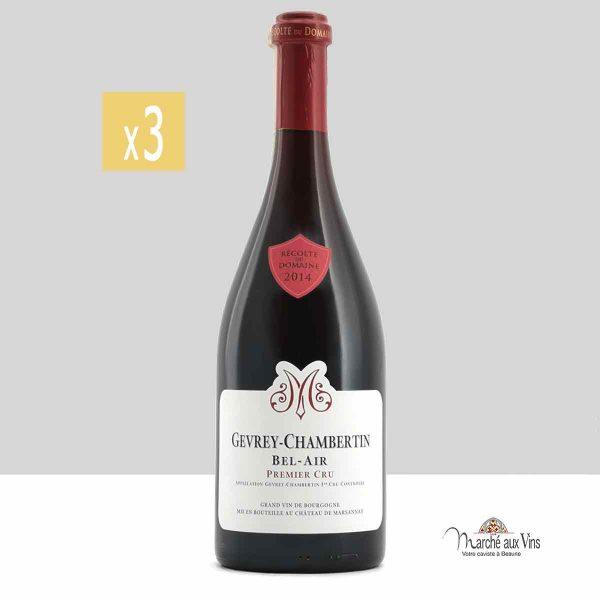 Lot de 3 -Gevrey-Chambertin Premier Cru Bel-Air 2014, Château de Marsannay