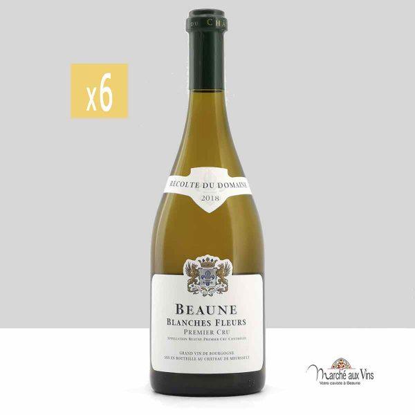 Lot de 6 -Beaune Blanches Fleurs Premier Cru 2018, Château de Meursault