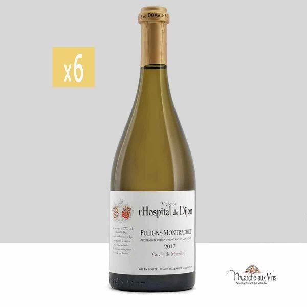 Lot de 6 -Puligny-Montrachet, Cuvée de Maizière 2017, vigne de l'Hospital de Dijon - Château de Marsannay